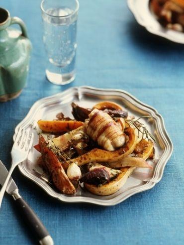 Geroosterde wintergroenten met kip in pancetta - Recepten - Eten - ELLE | ELLE