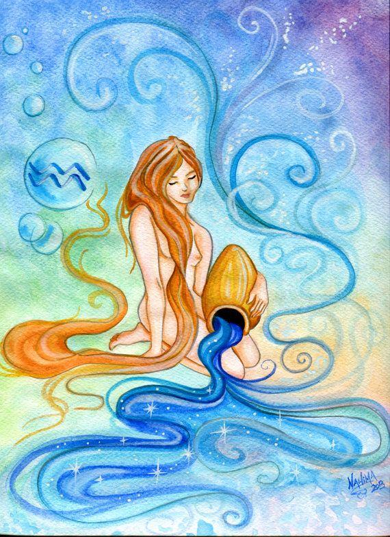 Acquario Acquerello Segno Zodiacale Stampa da di TheArtofNahima