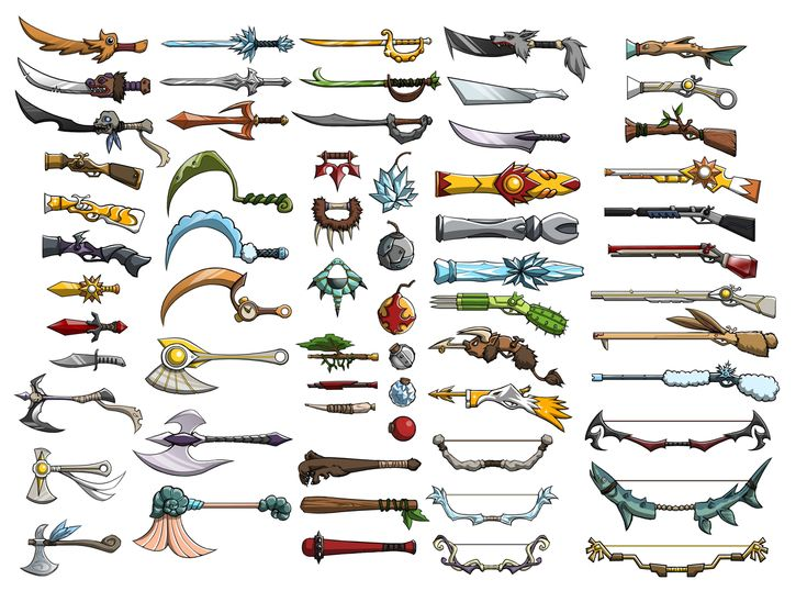 This image shows the concept art of weapons for a game.