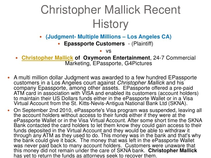christopher-mallick-oxymoron-entertainment-background. A Checkered and Fragmented History.  Epassporte Customer and Court Case Study.