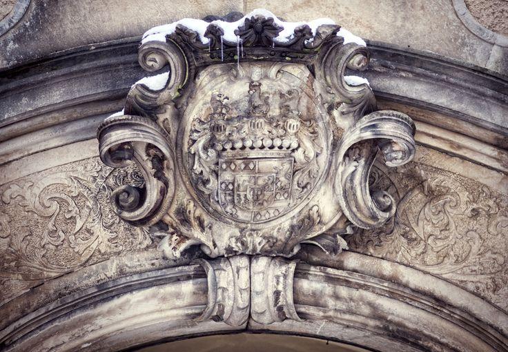 Kliczkow Castle coat of arms. Lower Silesia, Poland.