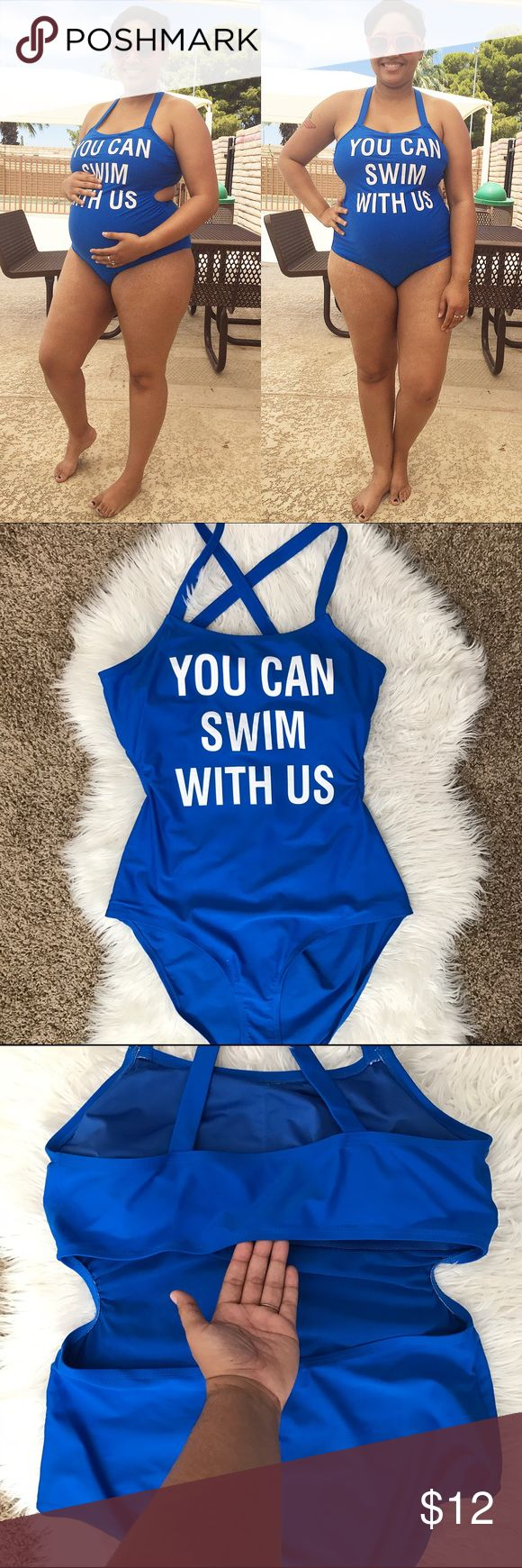 ♀️Blue One Piece Swimsuit♀️ Cute bathing suit. Worn once while pregnant. Open back and criss cross straps. Great condition. Forever 21 Swim One Pieces