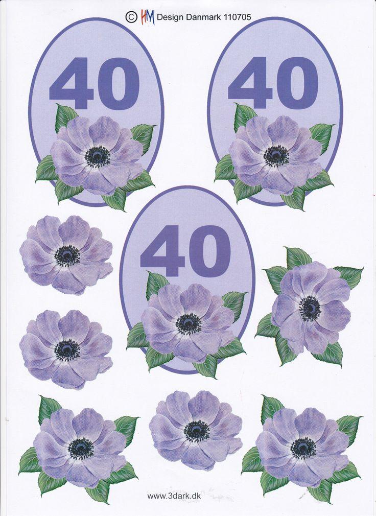 Flotte 3D ark til din egen kortfremstilling fra Sjovogkreativ.dk med smukke blomster og tallet 40 på.