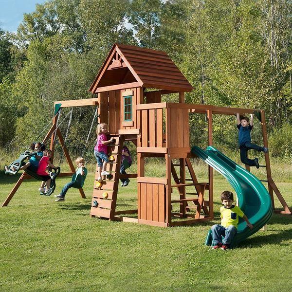 Wood Playset Swing Set Children's Garden Playhouse Slide Climbing Outdoor Set