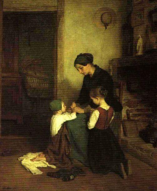 L'heure de la Prière  ~ Pierre Edouard Frère ~ (French: 1819-1886)