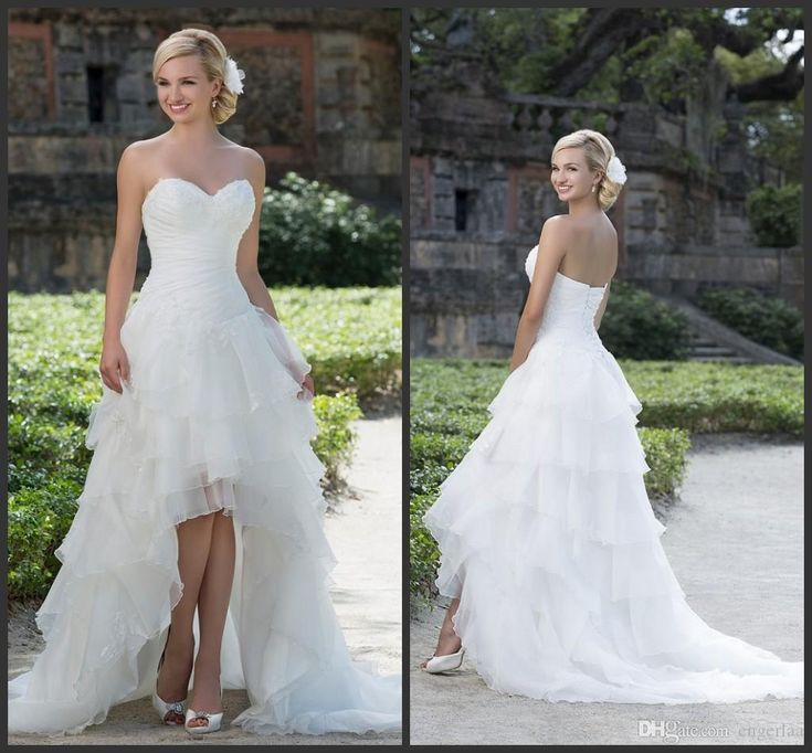 2016 Sincerity Bridal High Low Wedding Dresses Pleated Bodice Sweetheart Neckline With Applique Plus Size Lace Up Back Bridal Gowns A09 Online Wedding Gowns Perfect Wedding Dresses From Engerlaa, $141.26| Dhgate.Com