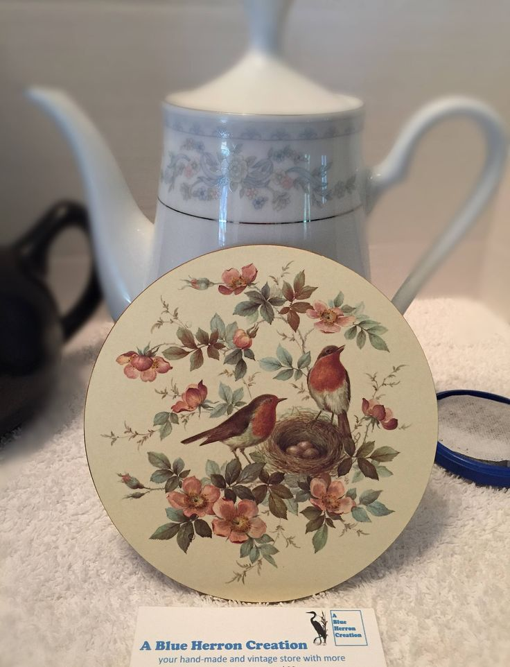 Vintage: Pimpernel Melamine Teapot Stand, Robin and Roses, Trivet, Celluware Limited, Original Box in Shrink Wrap, Made in England by ABlueHerronCreation on Etsy