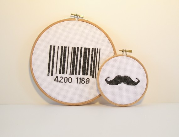 Moustache or barcode cross stitch