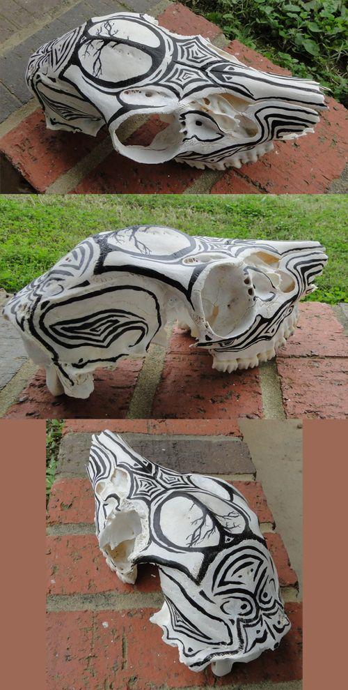 Painted animal skull
