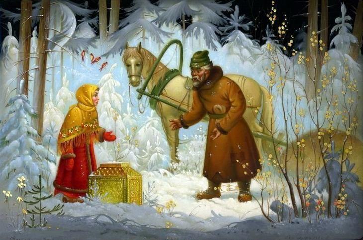 Зимние картины в сказочной федоскинской миниатюре.. Обсуждение на LiveInternet - Российский Сервис Онлайн-Дневников