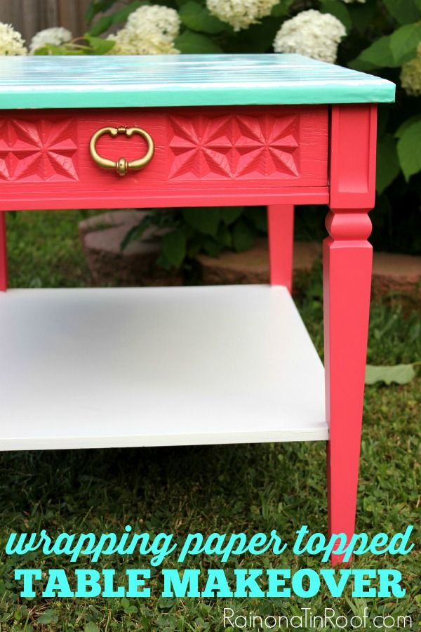 Table Makeover with Wrapping Paper and Mod Podge | Side Table Redo | Side Table Makeover Ideas | Best Furniture Makeovers