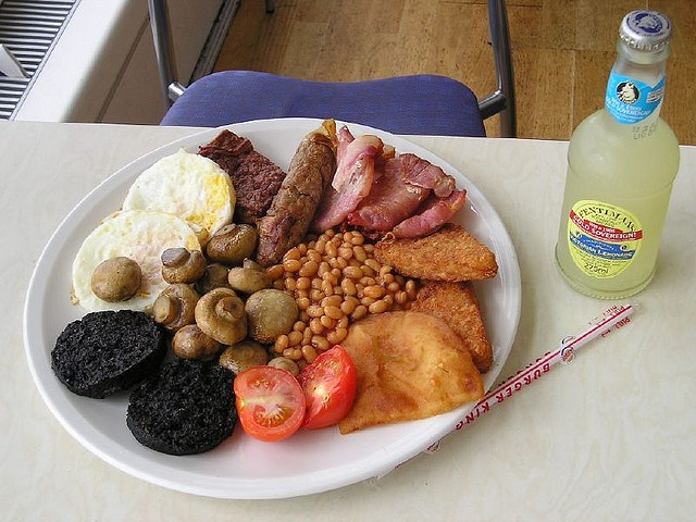 Full Scottish breakfast wi' tattie scone, square sausage and black pudding.  Whaur's the haggis?!