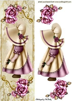 BONNET GIRL WITH PINK ROSES TALL DL on Craftsuprint - Add To Basket!