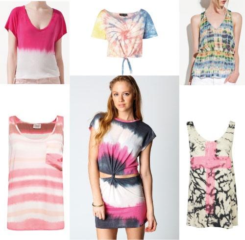 Camiseta rosa-blanca de Zara (15,95€), este top con nudo de Top Shop (22,4 €), camiseta estampada de Zara (19,95€), Camiseta sin mangas rosa-blanca (también disponible en marrón-blanco) de Mango (19,99€), vestido de Boohoo (18€) y camiseta de Top Shop (22,4€).