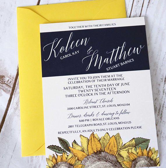 Sunflower Yellow and Navy Modern Wedding Invitations  Modern