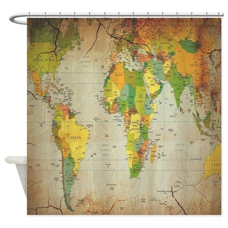 Vintage World Map Shower Curtain. Vintage World MapsEarth TonesShower ...