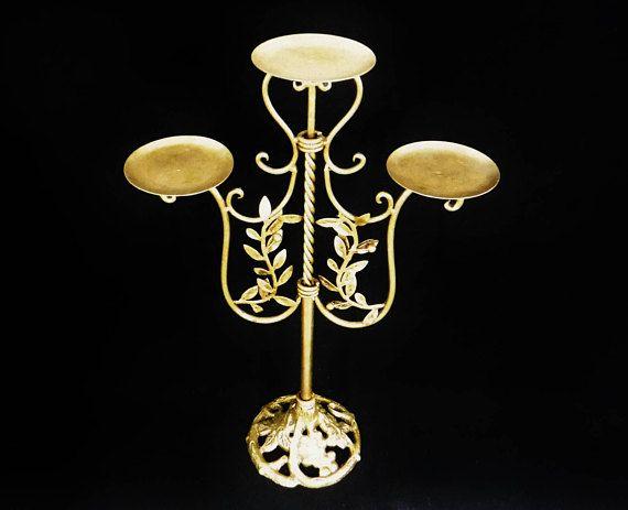 Tall Gold Candle Holder/Pillar Candleholder/Hollywood Regency