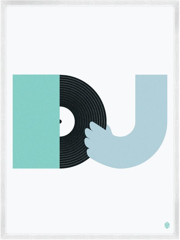 """DJ"" from Beats And Music Prints by My Little Underground. #music #dj #djart #djculture  http://www.pinterest.com/TheHitman14/dj-culture-vinyl-fantasy/"