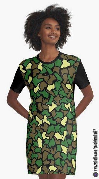 Camouflage Wobble Tile Pattern Graphic T-Shirt Dresses https://www.redbubble.com/people/markuk97/works/26668415-camouflage-wobble-tile-pattern?asc=t&p=graphic-t-shirt-dress via @redbubble