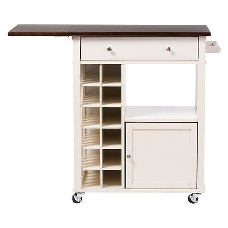 Justin Modern & Contemporary Cream White Solid Wood Kitchen Cart with Built-in Wine Rack - Baxton Studio : Target