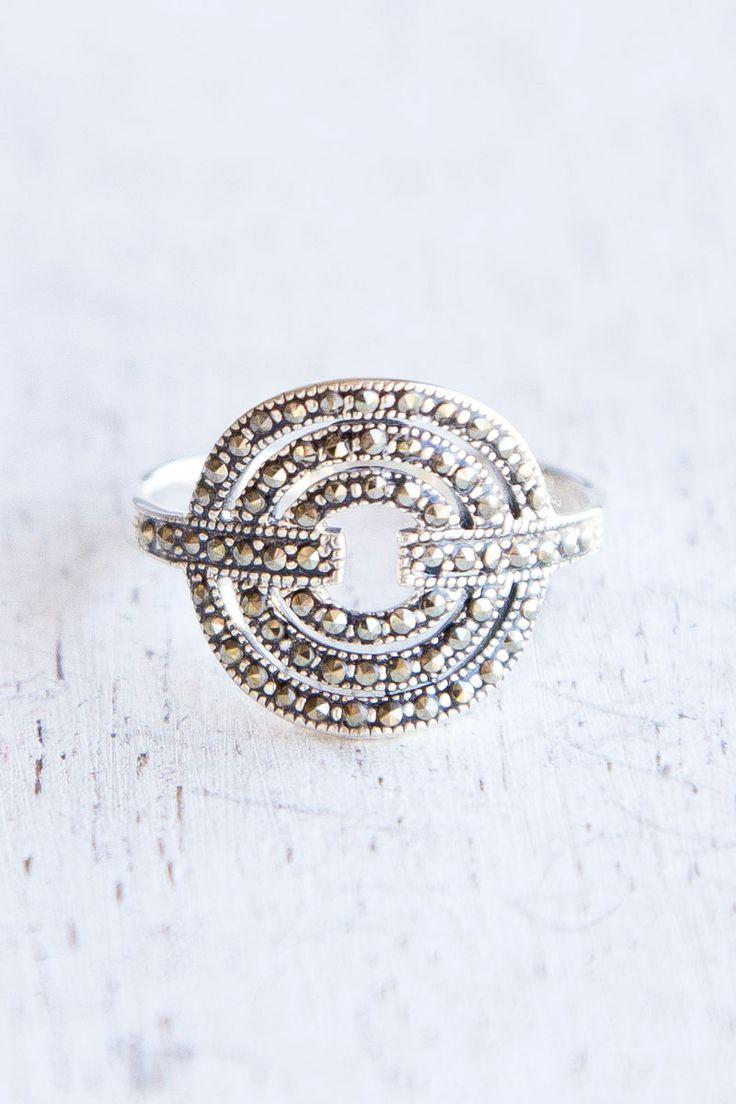Triple Marcasite Circle Ring