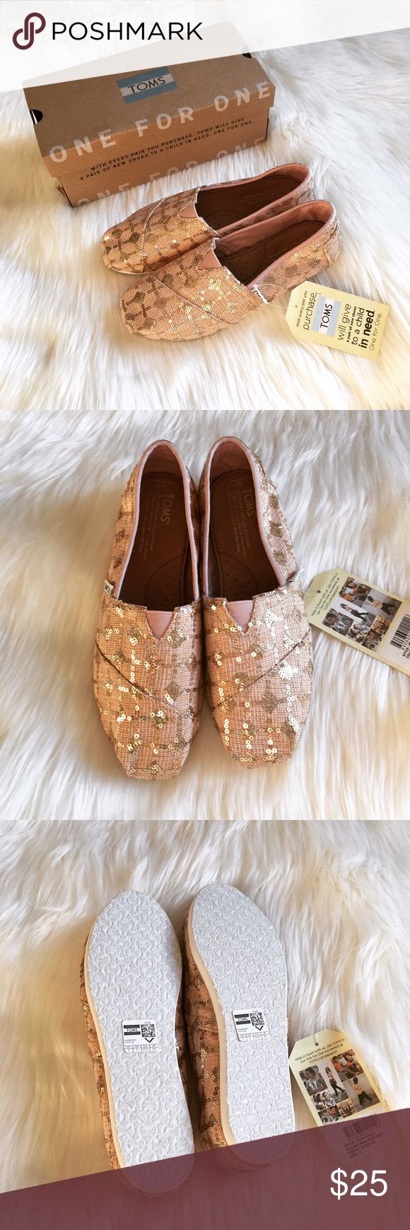 """Rose Gold TOMS Brand new size 7 TOMS. """"Rose gold"""" meaning a pale pink with golden sequins. I love rose gold so I bought them and then just never got around to wearing them. 🎀 Reasonable offers are welcome - let's haggle! Happy to negotiate a personalized bundle discount! 🎀 TOMS Shoes Espadrilles"""