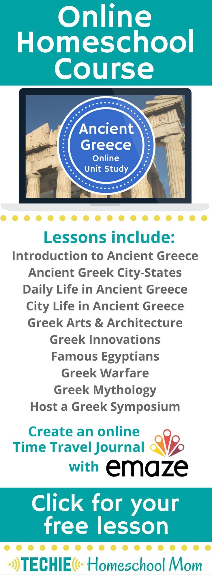 Try the Ancient Greece Online Unit Study. This online homeschool course integrates multiple subjects for multiple ages of students. Access websites and videos and complete digital projects. With Online Unit Studies' easy-to-use E-course format, no additional books or downloads are needed. Just gather supplies for hands-on projects and register for online tools. Click for your free lesson.