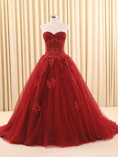 Dark Red Ball Gown Lace Wedding Dress