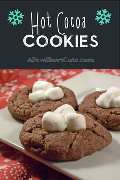 Hot Cocoa Cookies - could use a different chocolate cookie recipe - would use a kitchen torch for marshmallows.