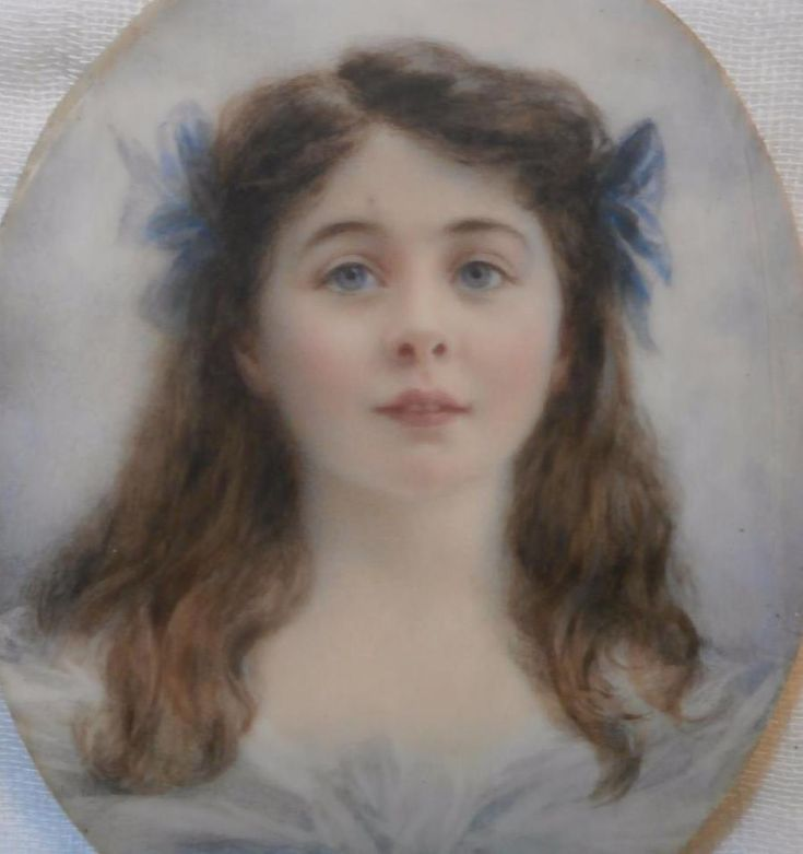 FINE EDWARDIAN PORTRAIT MINIATURE PRETTY YOUNG GIRL GWLADYS daughter Viscount Ri #Miniature