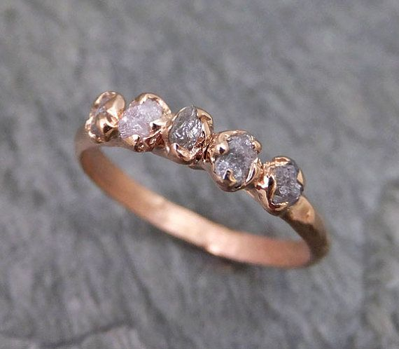 Raw Pink  Diamonds Rose Gold Ring Wedding Band Custom One Of a Kind Gemstone Ring Rough Diamond Ring byAngeline