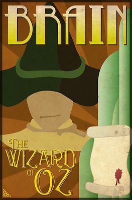 Wizard of Oz Scarecrow Deco Poster Design - This art deco inspired poster design featuring the Scarecrow from the classic movie, The Wizard of Oz, makes a perfect addition to any fans collection. The word 'Brain' compliments the other four characters design. Go to WheeDesign.com to collect all 4 main characters including: The Scarecrow, Tin Man, Cowardly Lion and Dorothy. Our Wizard of Oz Scarecrow poster design looks great on our T-shirts, hoodies and other gift items too!