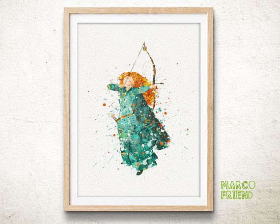 Merida, Disney - Watercolor, Art Print, Home Wall decor, Watercolor Print, Disney Princess Poster
