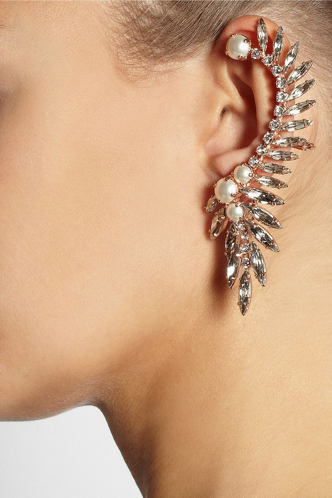 Swarovski Ryan Storer Rose-Gold, Crystal, and Pearl Ear Cuff ($630)