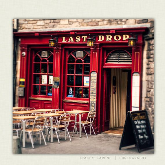 Man Cave Portsmouth : Pub art crimson red bar front in edinburgh scotland