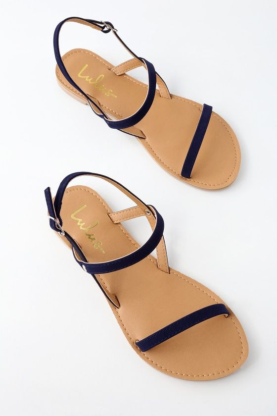 e28d53767 With the Rika Navy Nubuck Flat Sandals