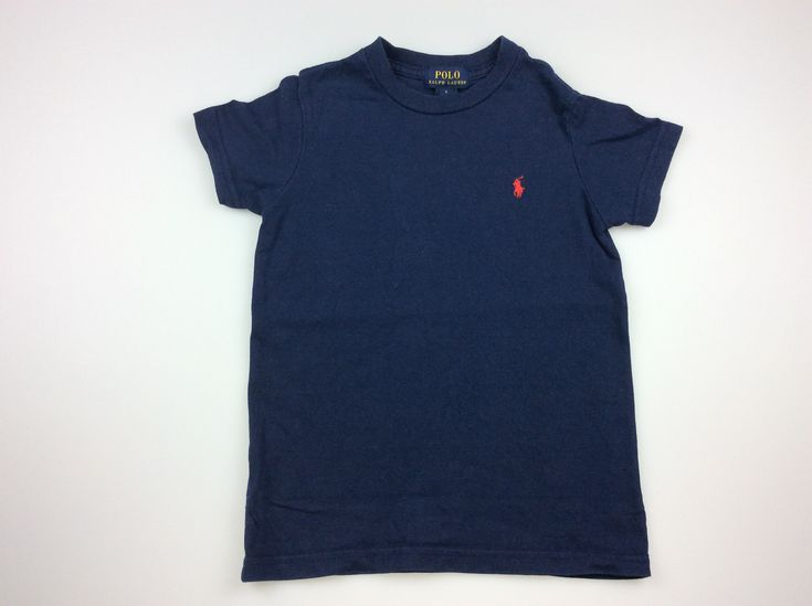 Polo by Ralph Lauren, navy t-shirt with red polo logo, good pre-loved condition, boy's size 5, $12 #kidsfashion #boysfashion #RalphLauren #PoloRalphLauren