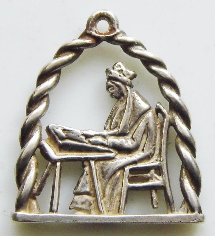 Antique St. Cecelia Sterling Silver Handmade Holy Medal Patron Saint Music Piano
