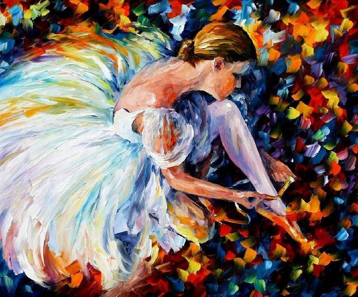 Ballerina original oil on canvas painting by Leonid Afremov