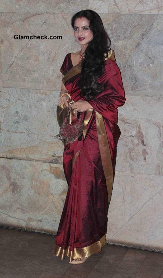gorgeous Rekha in maroon silk Saree