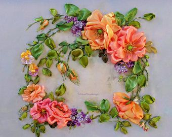 """picture """"Little wreath """",  Silk ribbon embroidery,ribbonwork,ribbonembroideryart,for frame,3D picture"""