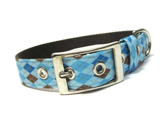 Blue Argyle Dog Collar with Metal Buckle by ChloesCollars on Etsy
