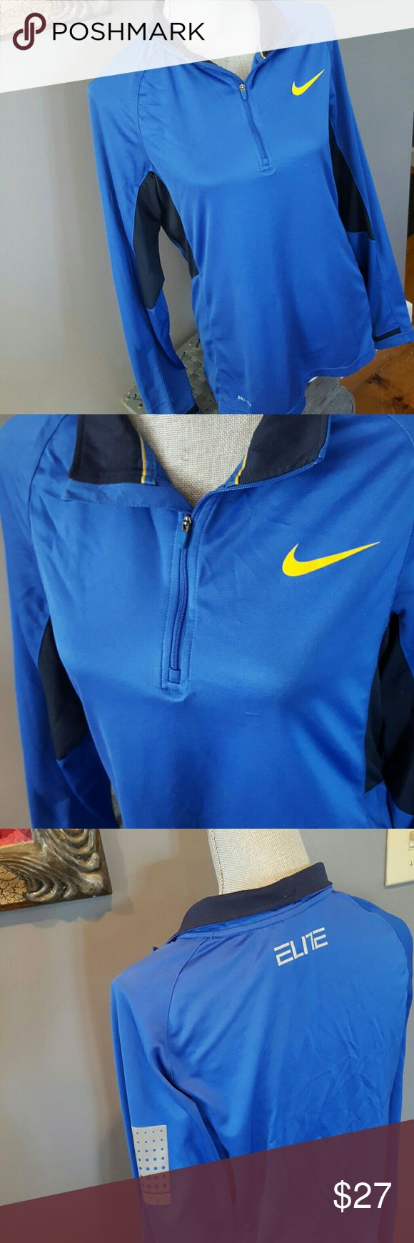 Nike ELITE 3/4 zip drifit long sleeve Mens small,  womens medium ,Bright Blue, dri fit. Great shape! Gently loved. There's a barely noticeable tiny snag on the front, you can barely see it lol see picture. Nike Shirts Tees - Long Sleeve