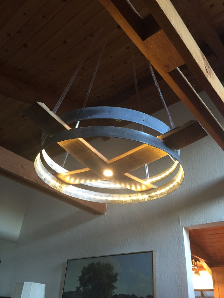 Kent Tool's chandelier made from staves and hoops from oak wine barrel