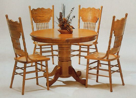 round table and chairs Single pedestal wood round dining