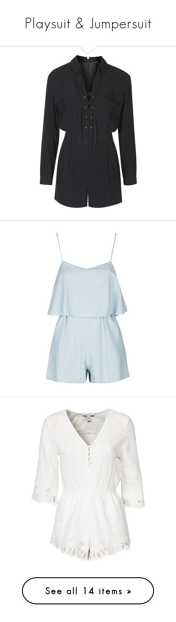"""""""Playsuit & Jumpersuit"""" by otrafter ❤ liked on Polyvore featuring jumpsuits, rompers, playsuit, topshop, romper, black, long-sleeve romper, romper jumpsuit, long sleeve jumpsuit and topshop jumpsuit"""