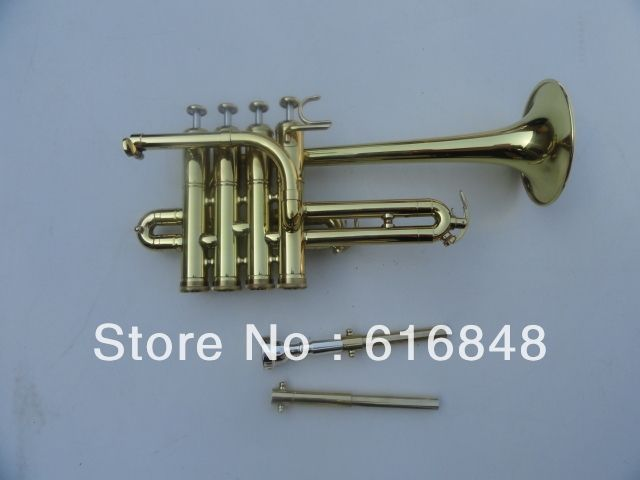 320.00$  Buy here - http://ali07x.worldwells.pw/go.php?t=923313276 - wholesale Best U.S. Bach Bb piccolo trumpet trumpet three tone trumpet monel piston surface gold 320.00$