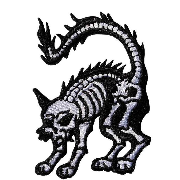 Even if you're a dog person, you have to admit this little guy is pretty cute. From Kreepsville 666, the mini skeleton cat patch measures approx 3 in (7cm) tall.While this patch is iron-on, w...