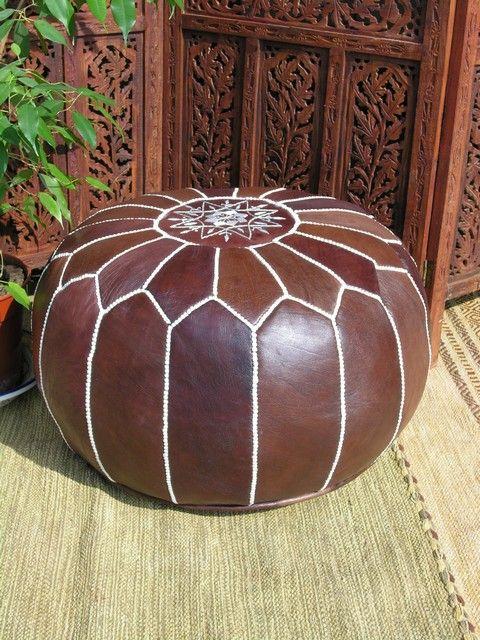 Dark tan Moroccan leather pouffe. http://www.maroque.co.uk/showitem.aspx?id=ENT04851&p=01570&n=all