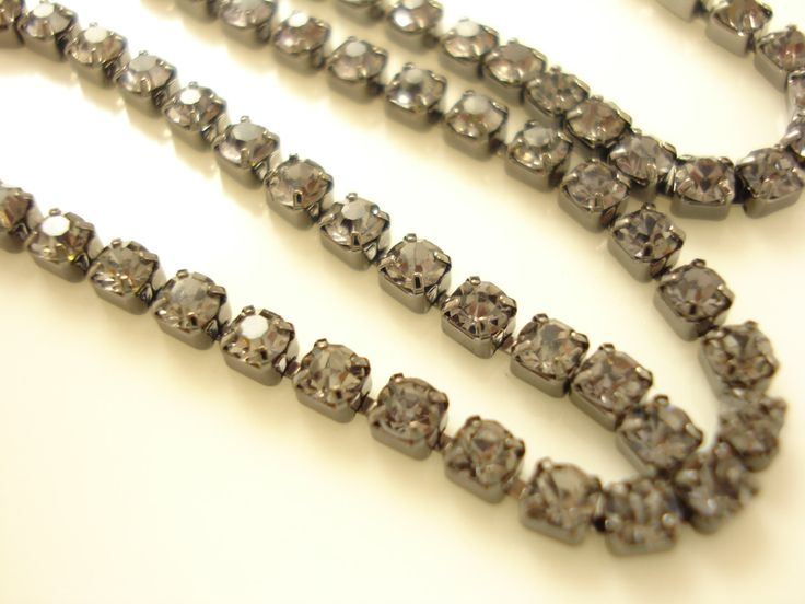 1 meter Black Rhinestone Chain SS6(2mm) RS-101 by yooounique on Etsy